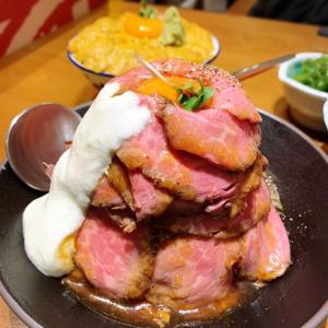 園区のYamakawaでローストビーフ丼と海胆丼を食べる