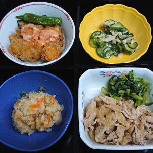 豚肉の生姜焼き、卯の花他の弁当