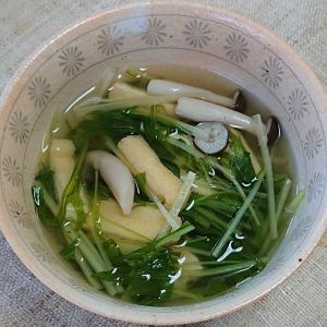 水菜と油揚げの白だし煮、カツオの刺身