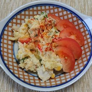 蒸し鶏入りポテトサラダ、新生姜と味噌
