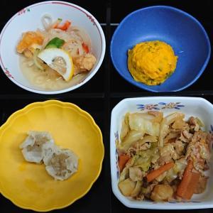 豚肉とキャベツの味噌炒め、エビシューマイ他の弁当
