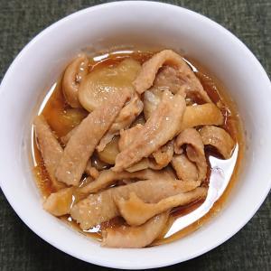 鶏皮と新生姜の甘辛煮、カンパチの刺身