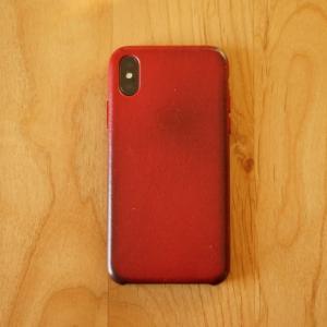 【2年使用レビュー】iPhone X純正レザーケース(Red)2年使用後の状態
