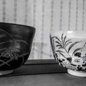 ススキの絵の茶碗