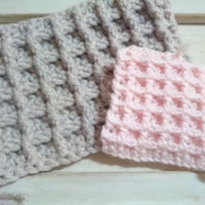 ワッフル模様 いろいろ試し編み