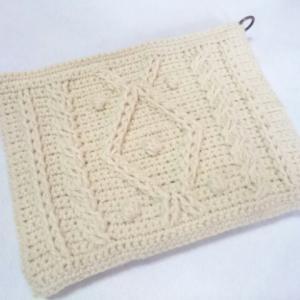 クラッチバッグ風 模様編みのポーチカバー