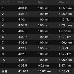 [本日のラン]10km非公認PBノンストップで達成(^_-)-☆