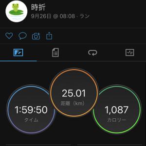 25km走ここが現在の私の目指すフルペースか(-_-メ)