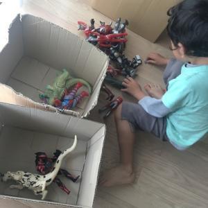 【整理収納】子供のおもちゃ箱にぴったり、100円の段ボールケース