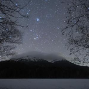 結氷したオンネトー湖で星空を撮る