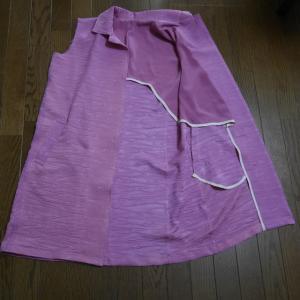 着物リメイクコート 袖の準備