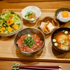 鮪の漬け丼の晩ご飯