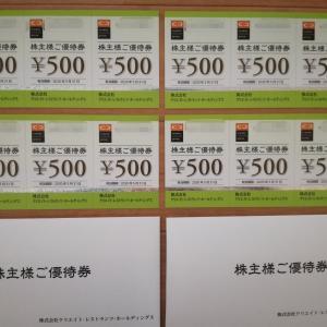 前回は東京ミッドタウン日比谷で使い切ったクリレス(3387)の株主優待券が2名義分で6,000円分到着!