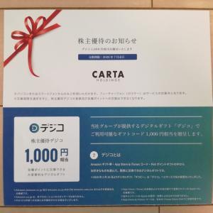 コロナショックで含み損5万円弱!CARTA HOLDINGS(3688)の株主優待デジコ1,000円相当が到着!Amazonギフト券と交換します!