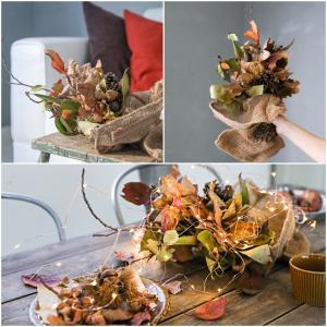 ★秋の簡単DIY ! 落ち葉で流行のドライフラワー飾り♪