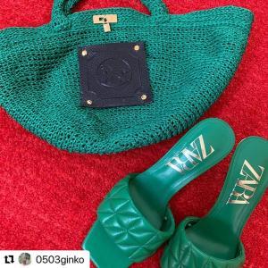 今年のトレンドカラー★グリーンの手編みバッグが素敵★Biscotto applique★