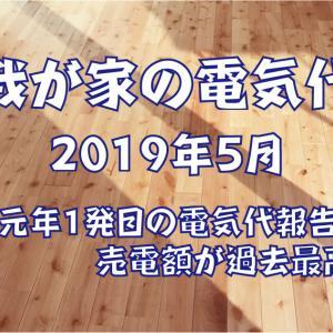 【我が家の電気代】2019年5月~令和元年1発目の電気代報告 売電額が過去最高にSP~