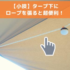 【キャンプ小技】タープの下に洗濯ロープを張ると、ランタン吊るせて超便利