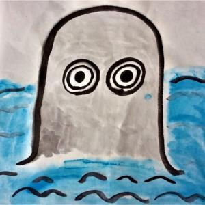 墨で妖怪を描いてみたよ!楽笑オリジナル妖怪日記424回目投稿