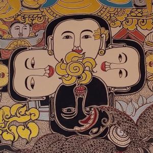 バンコク 神秘的?サイケ?な仏画『ワットスティワララーム』