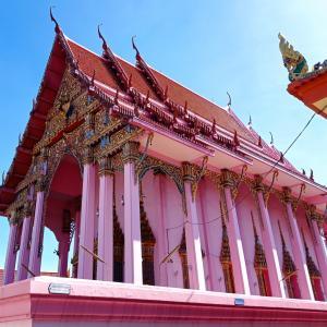 バンコク超レア寺院、全身ピンクの『バーン・ブア』と敬礼する仏像