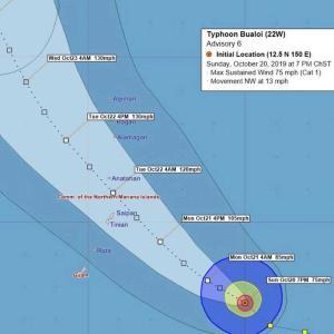 台風21号ブアローイは、タイフーンに!