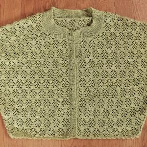 透かし模様のカーディ・・・編み終わり