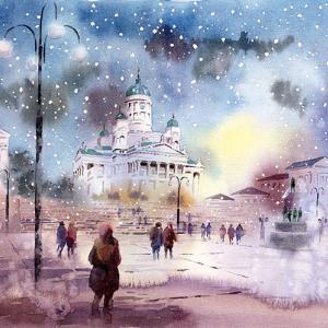 ヘルシンキ大聖堂雪夜