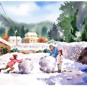 おばあちゃんと雪だるま