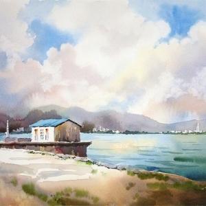 嵐の前の琵琶湖
