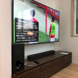 石川県白山市 ソニー75インチ大型テレビの壁掛け設置。大きくて見やすいね♪