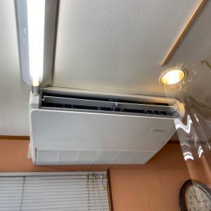 石川県加賀市 業務用エアコンがガス漏れ。天井吊りエアコンの取替