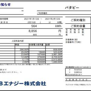 2月の東京電力「スマートライフプラン」とHTB「ぜんぶでんき東京」の電気代比較