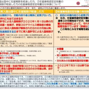 再入国と、認定証明書の有効期間渡過の措置