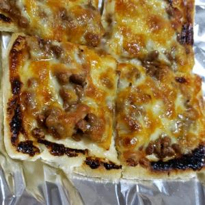油揚げピザ(納豆)