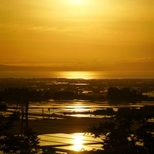どやまらんど「明日キャンプ場」から見える夕景!舟見城址と肩を並べる!!