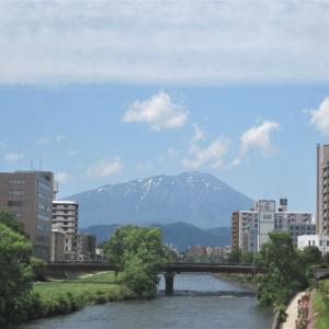 運転免許更新の日の岩手山と北上川