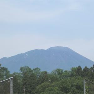 三田農場と北厨小前から見た岩手山