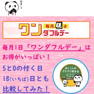 【楽天】毎月1日「ワンダフルデー」はお得がいっぱい!5と0の付く日・18日とも比較してみた!