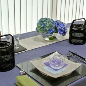 6月のテーブルコーディネートレッスン「雨の季節を楽しむ 和モダンのテーブルコーディネート 」