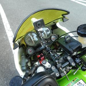 GPZ900R:ダブルアームマウントでホーム定峰朝練自撮り動画