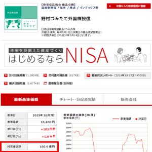 (祝!)純資産総額『100』億円到達!! ~野村つみたて外国株投信~