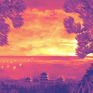 海峡付近の夕焼け