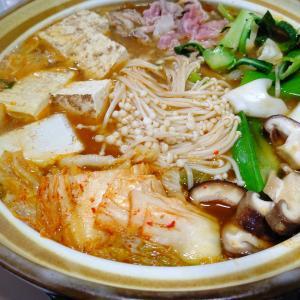 同級生手作りの白菜キムチで「キムチ鍋」