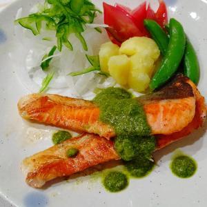 生鮭とクリームバジルソース