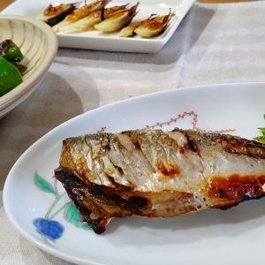 鰺の塩焼きと焼き夏野菜と梅味噌