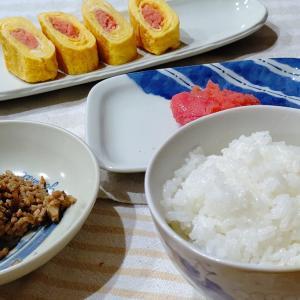 新米デビューは、「明太子」と「明太子卵焼き」と「肉味噌」で