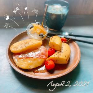 8月最初の朝ごぱん♪甘じょっぱいパンケーキヽ(*'▽'*)ノ