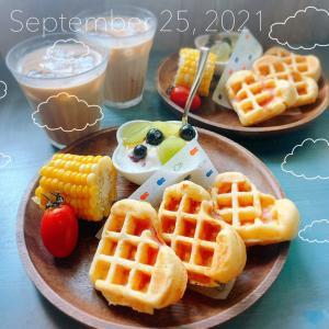 ベーコンワッフルの朝ごパン(*´∇`)ノ