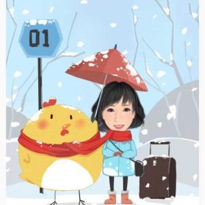 冬のバス停